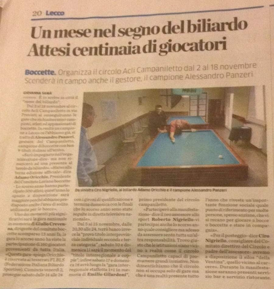 Biliardo a Lecco
