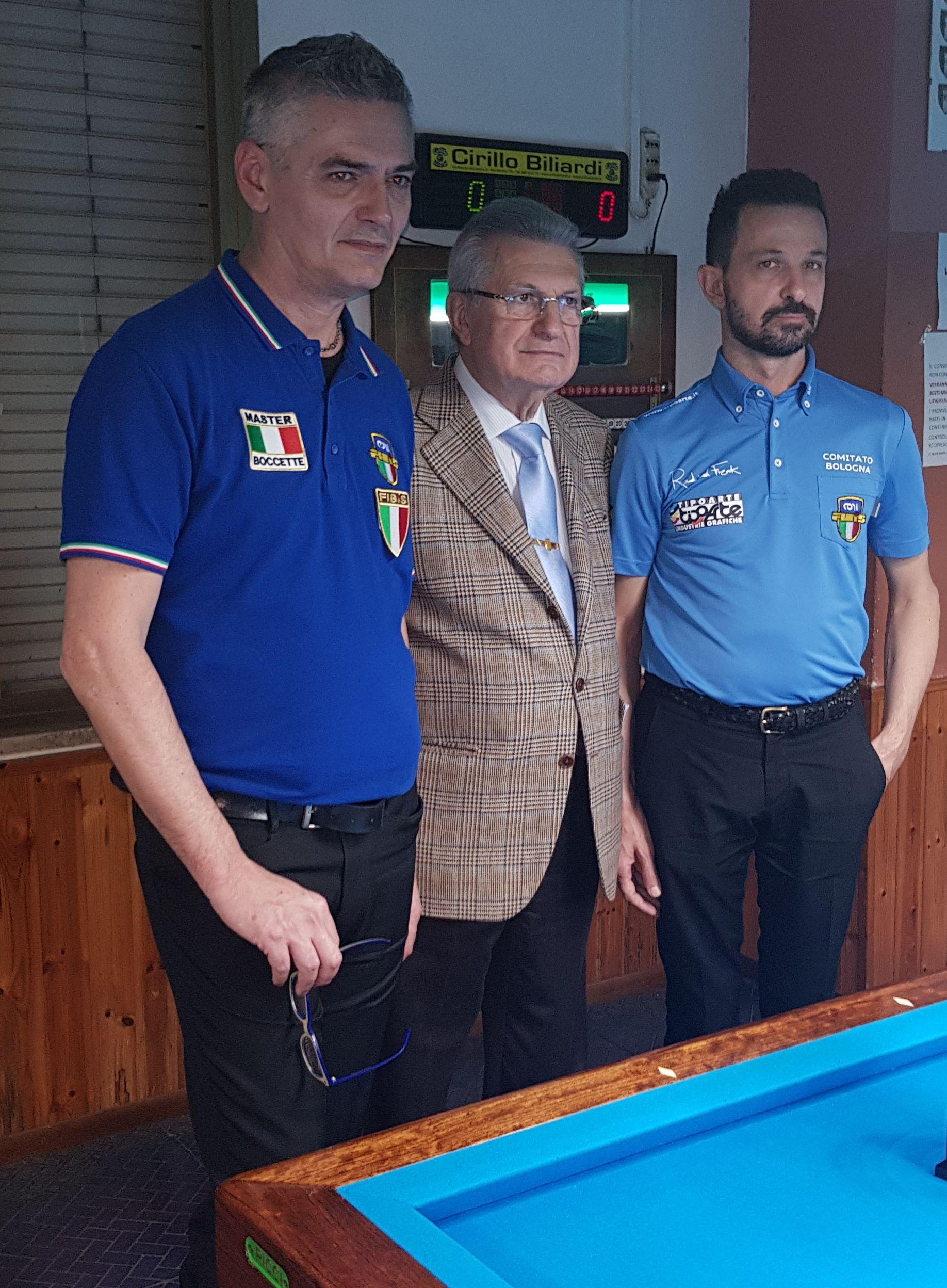 Luca Molduzzi, Luciano Mazzanti ( pres. Circolo XIV Febbraio) e Denis Morini