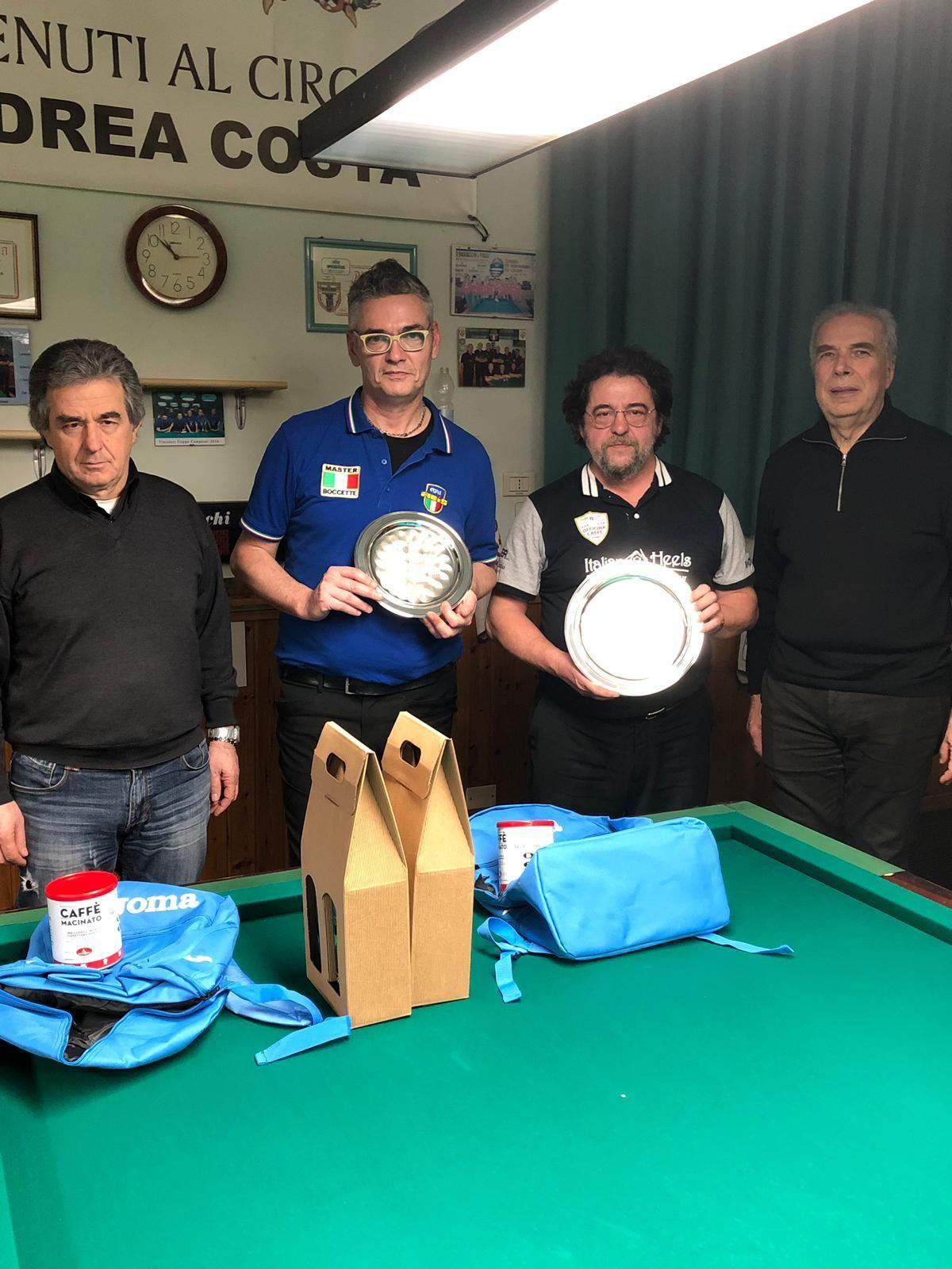Lauro Caffari,( Pres, Fibis Reggio), Luca Molduzzi, Marco Merloni, Milo Pacchioni (Pres. Circ. A. Costa Carpi)