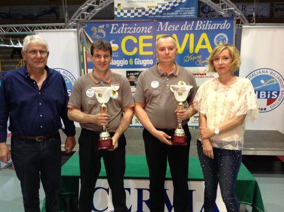 Albicocco Valerio e Federici Claudio (1° class.) premiati da Augusto Landi (Pres. Reg.le Fibis) e Stefania Ceccarelli
