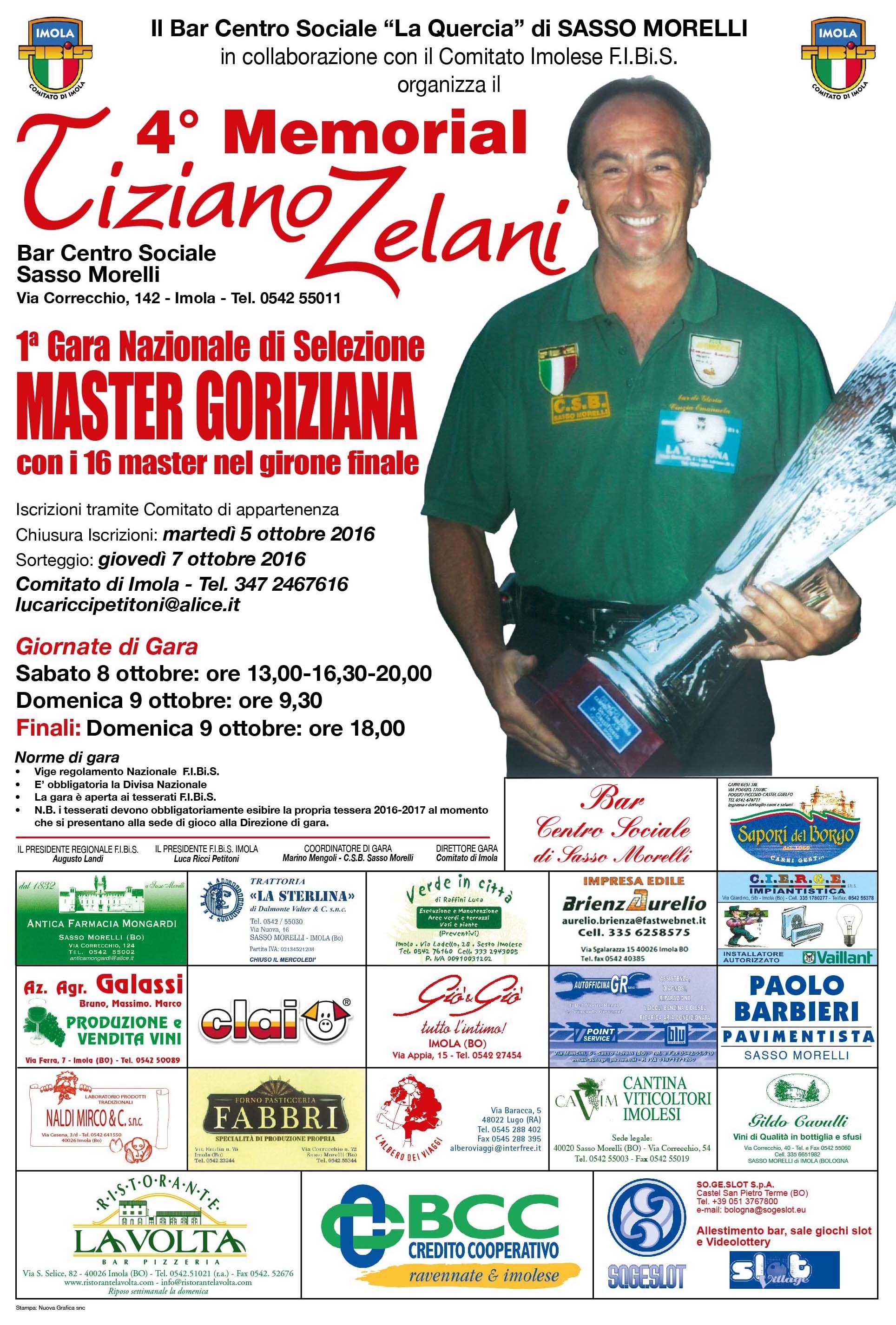 4° Memorial Tiziano Zelani (valida x la selezione Master Goriziana)