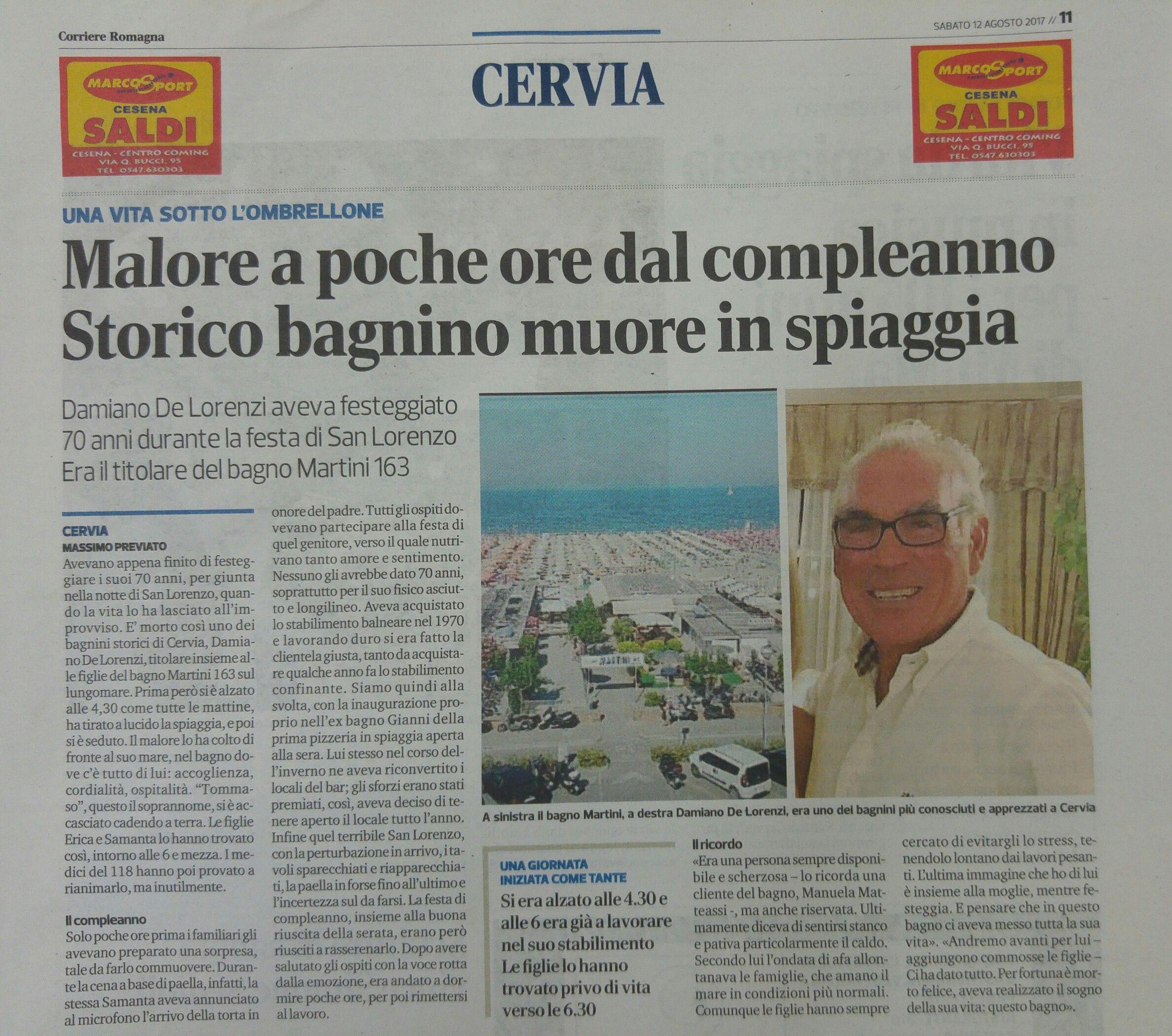 Artcolo Corriere  11 agosto 2017