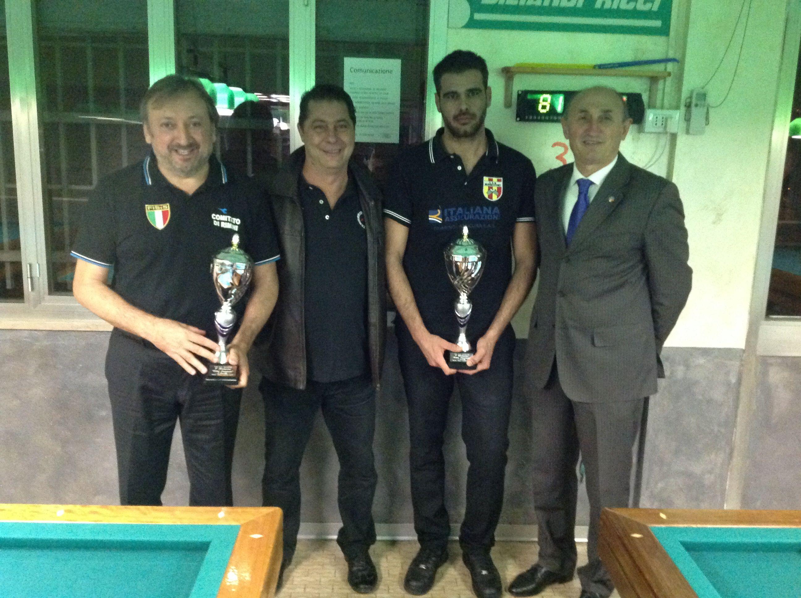 I finalisti Ricci D. e Rosa E. Con il Direttore di gara Padovan Roberto e il Consigliere Federale Loris De Cesari