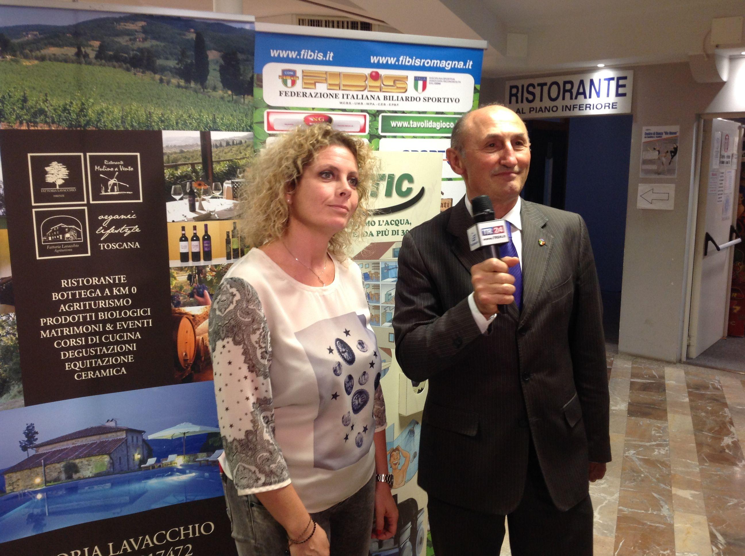 Barzanti Veronica moglie del titolare con il Consigliere Federale L. De Cesari